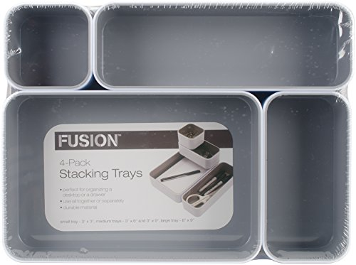 - Advantus White/Gray-Fusion Stackbl 4-Pak Desk Tray (37592)