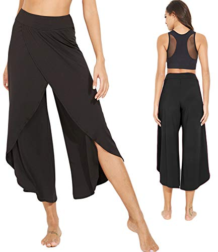 KIWI RATA Women's Chiffon Split Flared Skirt Pants Palazzo Boho Wide Leg High Waist Loose Trousers (XL(US 14), Black)