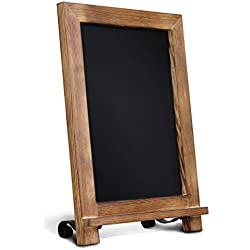 """HBCY Creations Rustic Torched Wood Tabletop Chalkboard with Legs/Vintage Wedding Table Sign/Small Kitchen Countertop Memo Board/Antique Wooden Frame (9.5"""" x 14"""" Inches) (Torched Brown)"""