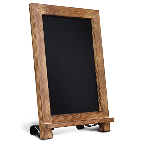 HBCY Creations Rustic Torched Wood Tabletop Chalkboard with Legs/Vintage Wedding Table Sign/Small Kitchen Countertop Memo Board/Antique Wooden Frame (9.5