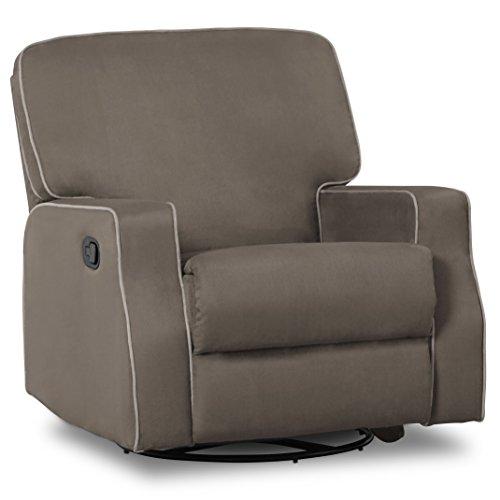 Delta Children Caleb Nursery Recliner Glider Swivel Chair, Graphite/Dove Grey Welt