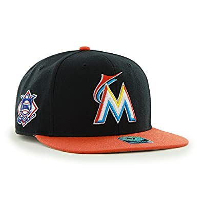 MLB Miami Marlins Sure Shot Two Tone Captain Wool Adjustable Hat, One Size, Black