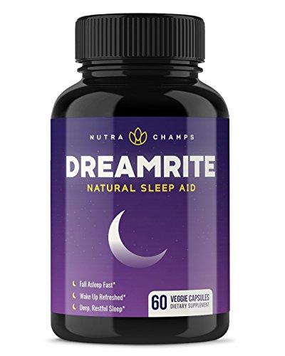 DREAMRITE Natural Sleep Aid - Non-Habit Forming Vegan Sleeping Pills - Herbal Complex with Valerian, Chamomile, Magnesium, Hops Extract, Melatonin - 60 Vegetarian Capsules - Relax & Calm Supplement