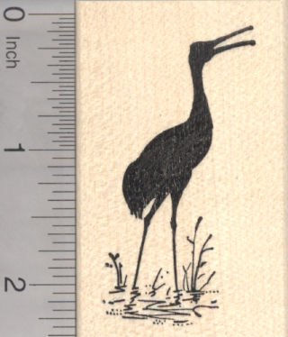 Crane Rubber Stamp, Heron Silhouette