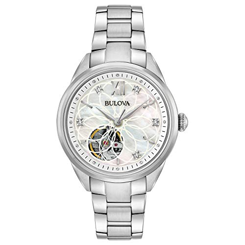 (Bulova Women's Automatic-self-Wind Watch with Stainless-Steel Strap, Silver, 7 (Model:)