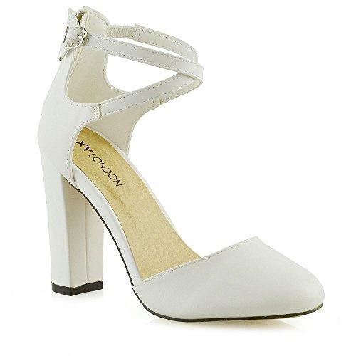 Closed Caviglia Sintetica Cinturino A Toe Donna Pelle Sandalo Essex Bianco Tacco Glam Alto Blocco fOFzHWw8qW