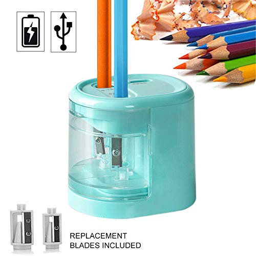 Electric Pencil Sharpener, Dual Holes Battery or USB Operated Pencil Sharpener, Heavy Duty Automatic Pencil Sharpener With 2 Steel Blades, Great Gifts for Artists, Students Used in Classroom and Home