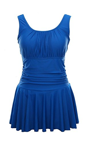 Juruaa Womens One-Piece Swimdress Conservative Swimsuits Bathing Suit Sapphire Blue US16-18