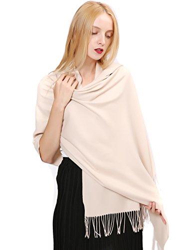 Vigeiya Solid Color Tartar Tassel Large Extra Soft Cashmere Blend Women Pashmina Warm Shawl Wrap Stole Scarf (Light (Beige Extra Light)