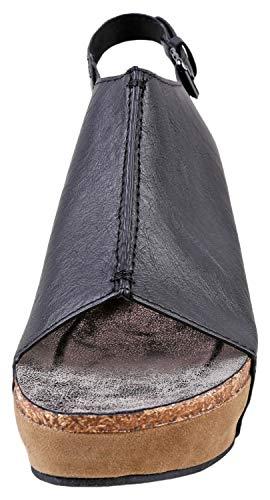 Pierre Dumas Hester-14 Women's Platform Wedge Open Toe Sandals (7 B(M) US, Black)