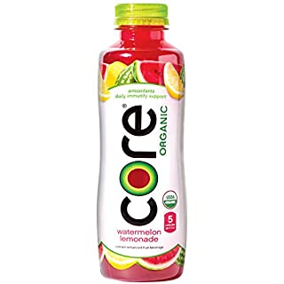 Core Organic CORE Organic, Watermelon Lemonade, 18 Fl Oz (Pack of 12), Fruit Infused Beverage, Vegan/Gluten-Free, Non-GMO, Refreshing Flavored Water with Antioxidants, Great For Immunity Support