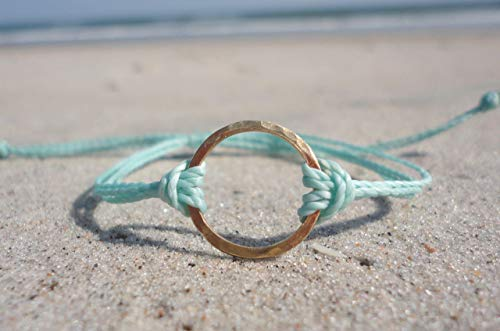 Circle Friendship Bracelet Of (Circle Friendship Bracelet-Adjustable Waterproof Wax Coated Bangle-Handcrafted with Hammered Brass Circle-Aqua Thread Color)