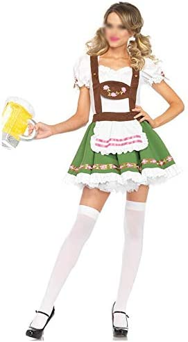 HAPPY LEMON Neuartiges Cosplay Neuartige Cosplay Series Damen Halloween Kostüme Oktoberfest Bier-Mädchen-Kleidung Bar Kellner Maid Kleid Halloweenkostüm