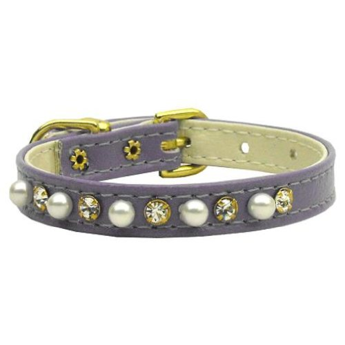 Dog   Cat   Pet Charms 3 8  Pearl and Clear Crystals Collar Purple 12