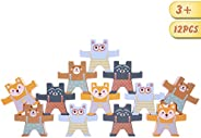 Spiekind Wooden Bear Balancing Blocks 12 Pcs Interlock Stacking Games for Toddlers Educational Gift for Age 3
