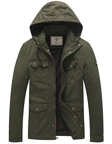 WenVen Men's Hooded Cotton Military Field Jackets (Military Green, Size M)