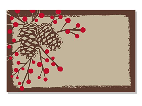 Pack Of 50, Woodland Pinecone w/red berries Enclosure Card 3-1/2'' x 2-1/4'' Made In USA by Generic