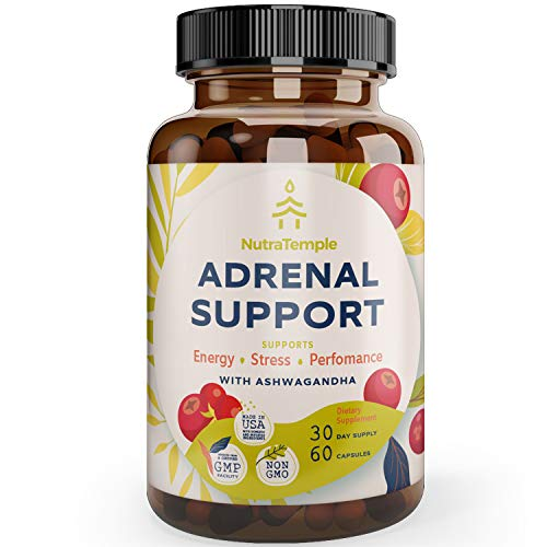 Adrenal Support & Cortisol Manager – Powerful Adrenal Fatigue Supplements for Stress Relief, Anxiety Relief, Focus Factor with Ashwagandha, Rhodiola Rosea, L Thyrosine, Holy Basil – 60 Non GMO Pills