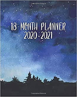 month planner pretty watercolor night sky weekly
