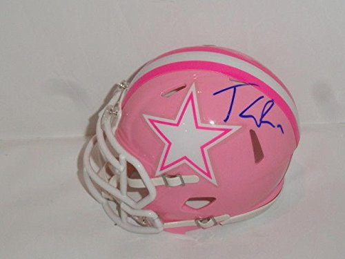 Tony Romo Signed Dallas Cowboys Pink Breast Cancer Speed Mini Helmet - Autographed NFL Mini Helmets (Autographed Romo Helmet Tony)