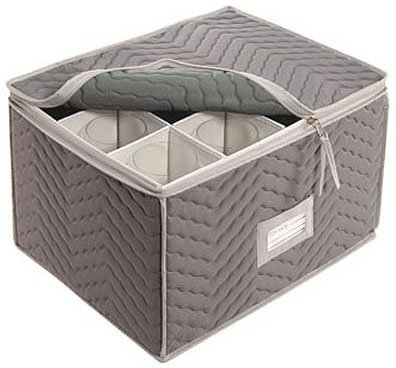 Richards Homewares Micro Fiber Deluxe Twelve Section Stemware Chest-Grey (7093)