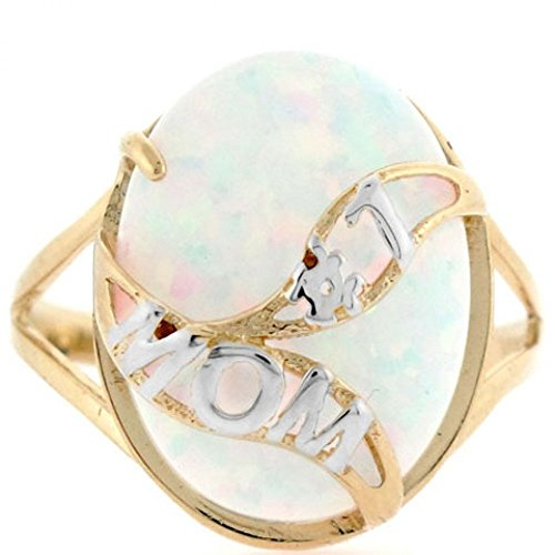 14k Solid Gold Whale Tail #1 Mom White Simulated Opal Ring Solid 14k Gold Whale Tail