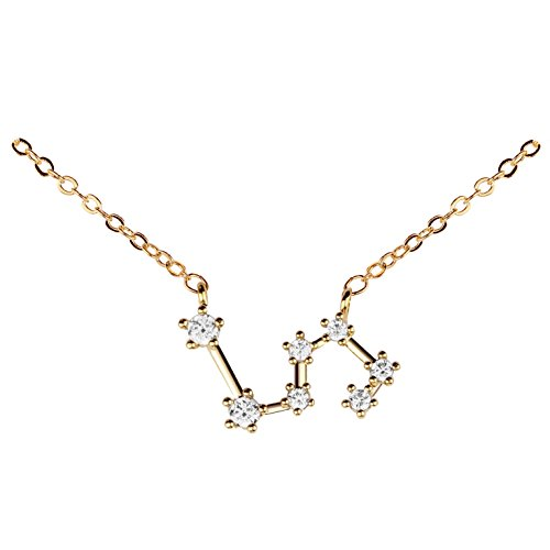 Gold Crystal Zodiac Necklace Constellation Jewelry Birthday Gift Sorority Sister Gift