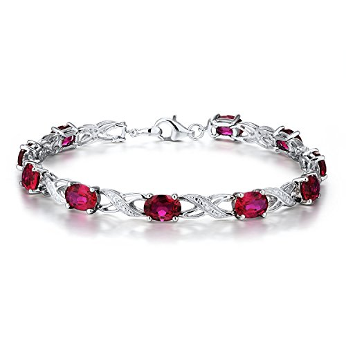 Created Ruby Bracelet with Diamond Accents in Rhodium Plated Sterling Silver by Diamond Classic Jewelry