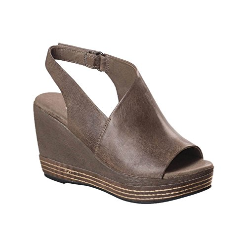Antelope Women's 646 Grey Leather Slingback Wedge Sandals 38