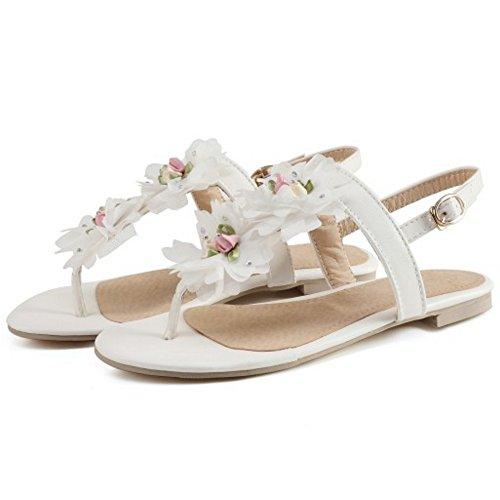TAOFFEN Women Casual Flip Flops Flower Thongs Slingback Yoga Flat Sandals White 6fOg02F
