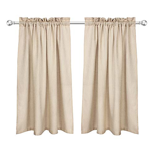 VOILYBIRD Barras Natural Linen Privacy Short Curtains for Kitchen Windows 45 Inch Length Panels for Bathroom Rod Pockets Top (Tan, W42 x L45, 1 Pair) (Length 45 Curtains)