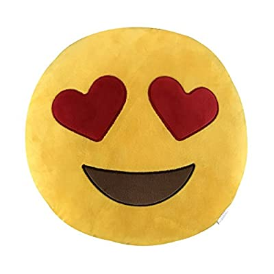 KINREX Emoji Pillow Toys For Kids And Adults - Heart Eye Yellow Pillow Cushion - Birthday Gifts For Boys, Girls, And Adults - 35 cm: Toys & Games