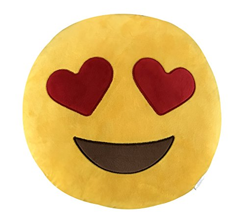KINREX Emoji Party Supplies - Heart Eyes Pillows - 35 cm - Soft Decorative Emojis Pillow - Birthday Party Favors and Decorations - Gifts for Women, Kids and Adults by KINREX