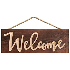 P. GRAHAM DUNN Welcome Script Brown Weathered 16 x 6 Inch Pine Wood Carved Hewed Hanging Sign 60