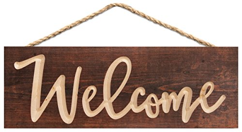 P. GRAHAM DUNN Welcome Script Brown Weathered 16 x 6 Inch Pine Wood Carved Hewed Hanging Sign