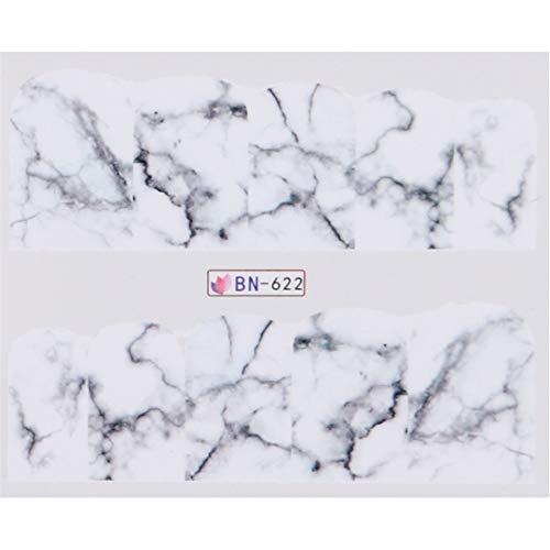 1PCS White Black Gradient Marble Nail Art Sticker Water Transfer Decal Watermark Slider Manicure Full Wrap Tool Decor BN622 -