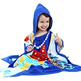 Yezike Baby Pajamas Boys Girls Kid Bathrobe Cartoon Animals Hooded Bath Towel Clothe (1-7 Years 70CM/27.6''×70CM/27.6'', Blue)
