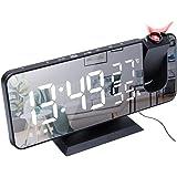 XFTOPSE Rádio relógio, despertador digital com projeção de LED para quarto, relógio espelhado digital com carregador USB, des