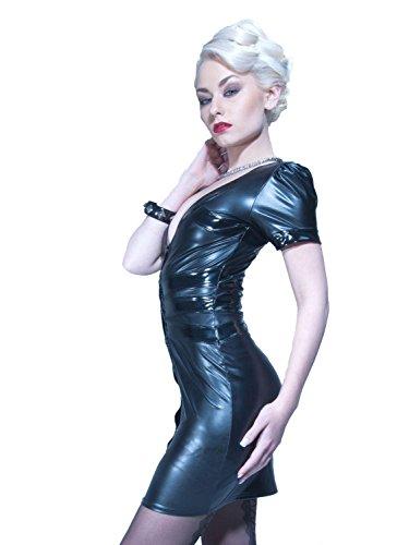 Partykleid NEVADA Lack Wetlook mit Druckknöpfen schwarz Schwarz ...