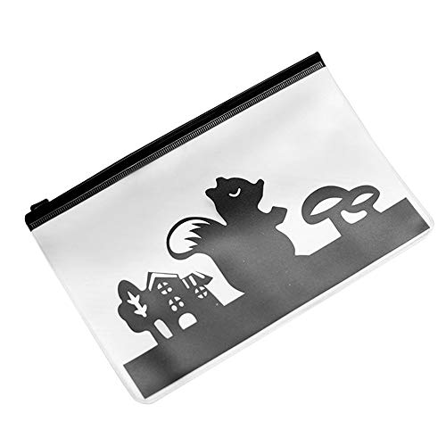 - Hisoul Student Stationery Bag Cute Animal Translucent Frosted File Bag Student Pencil Pen Case Cosmetic Pouch (B)
