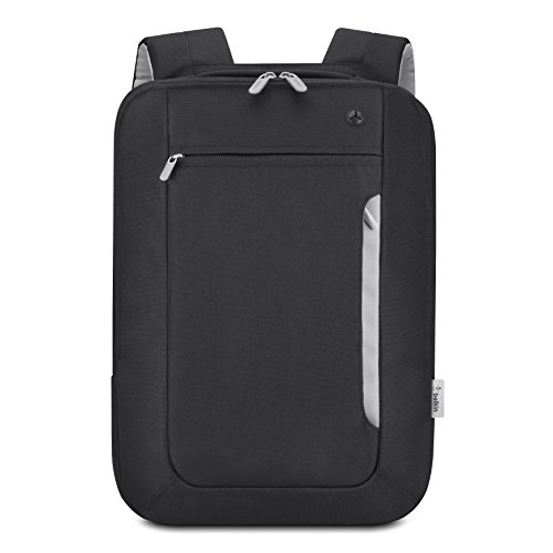 Belkin Slim Polyester Backpack for Laptops and Notebooks up to 15.4'' (Black / Light Gray) Black 15.4' Laptop Backpack