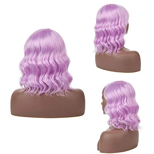 - H&N Hair Colorful Purple Wigs Short Bob Wave Wigs for Women 14''Synthetic Wigs with Bangs Cosplay Halloween Party Wigs + Free Wig Cap