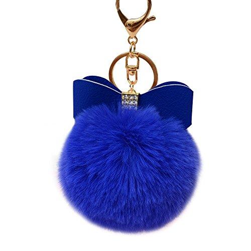 Rabbit Bowknot (SUPPION Fluffy Faux Rabbit Fur Ball Bowknot Charm Car Keychain Handbag Key Ring (Blue))