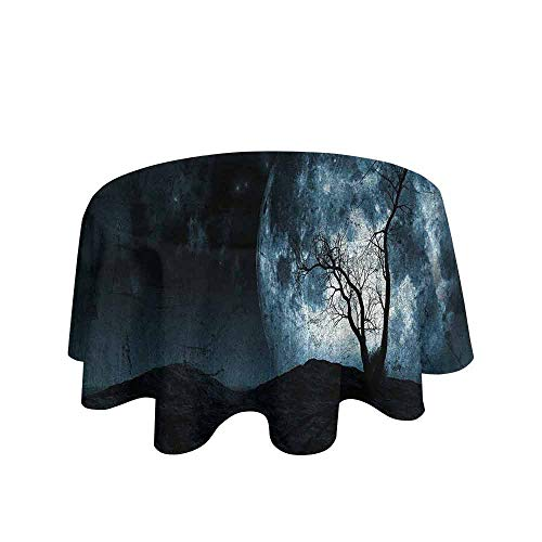 Curioly Fantasy Printed Tablecloth Night Moon Sky with Tree Silhouette Gothic Halloween Colors Scary Artsy Background Desktop Protection pad D55 Inch Slate Blue ()