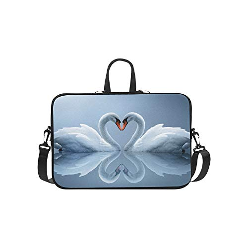 (Love Among Birds Two White Swans Lake Hd Wallpaper Pattern Briefcase Laptop Bag Messenger Shoulder Work Bag Crossbody Handbag for Business Travelling)