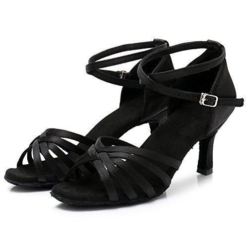 Baile 213 Swdzm Modelo es Satén Zapatos Ballroom tacón estándar Baile 7cm Mujer Latino De Negro qawCXq