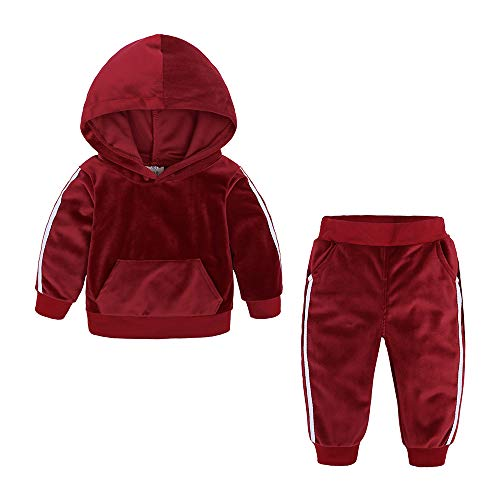 Kids Tales Boys Girls 2Pcs Velvet Hooded Tracksuit Top + Sweatpants Outfits Set(12M-8T) Red