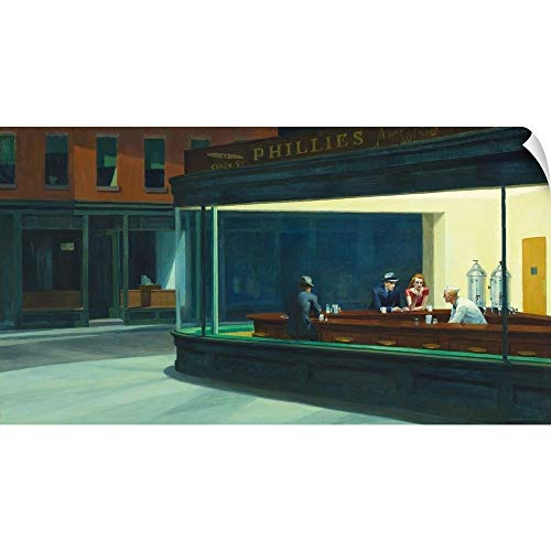 CANVAS ON DEMAND Edward Hopper Wall Peel Wall Art Print Entitled Nighthawks, 1942 60