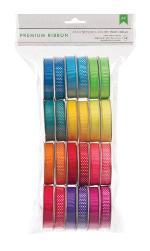 American Crafts Extreme Value Neon Grosgrain Ribbon by 24 pack, various printed and woven - Ribbon American