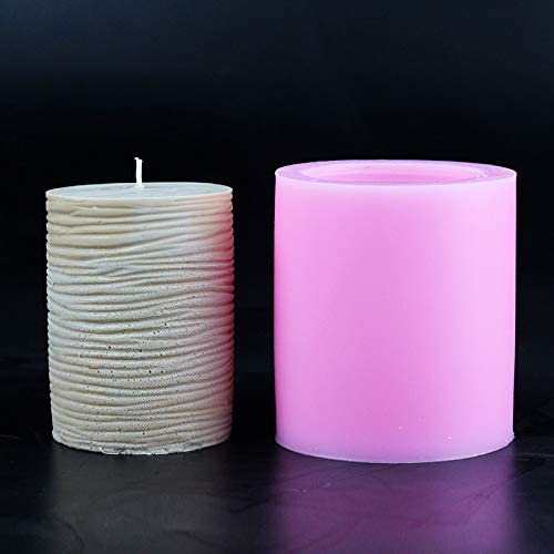 Nicole Silicone Mold for Soap Candle Making 3D Round Cylinder with Classical Relief Handmade Craft Mould